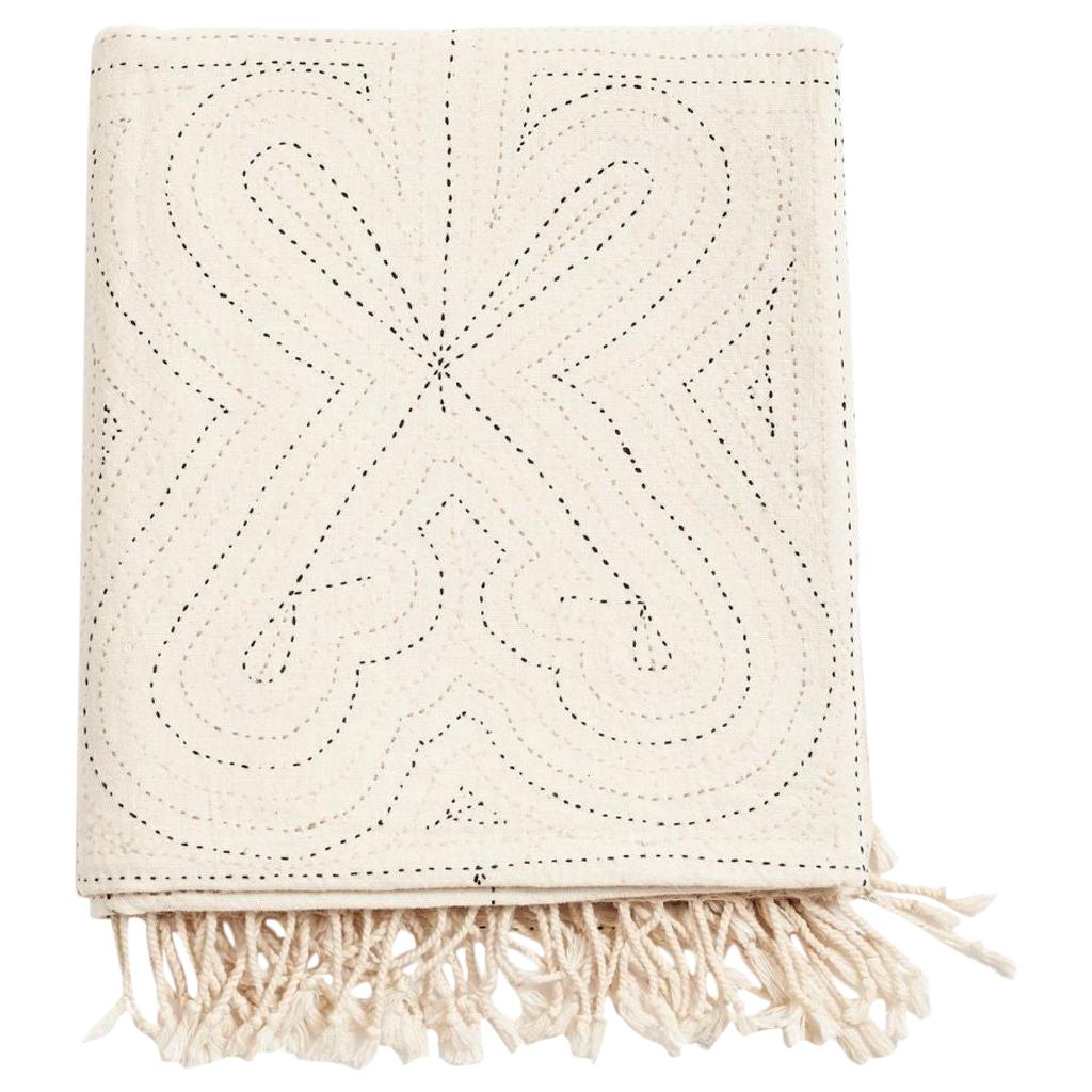 KATHA White Hand Embroidered Throw / Blanket in Organic Cotton
