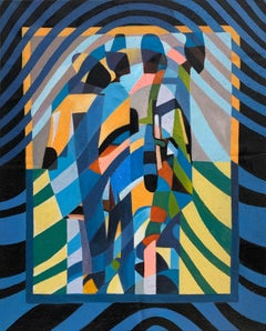 Connections by Katharina Husslein - Contemporary blue, geometric painting