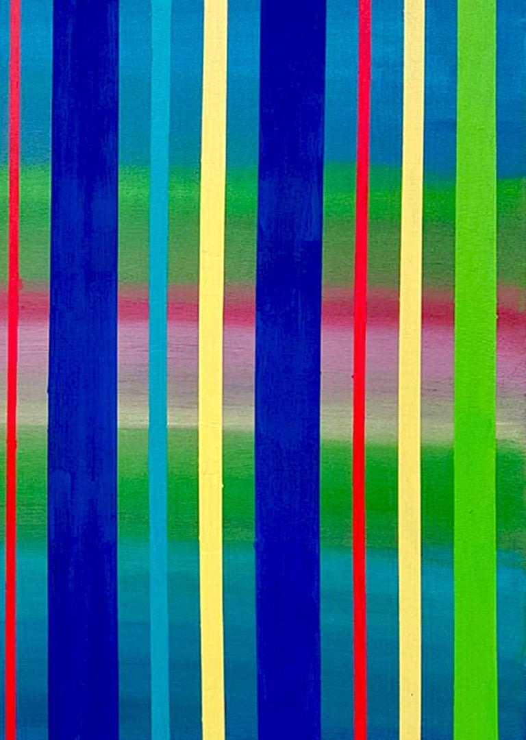 Dream Sequence - Blue, Green, Yellow Striped abstract painting - Painting by Katharina Husslein