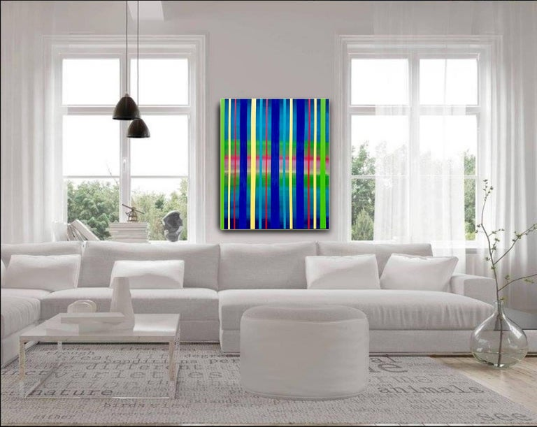Dream Sequence - Blue, Green, Yellow Striped abstract painting - Abstract Painting by Katharina Husslein