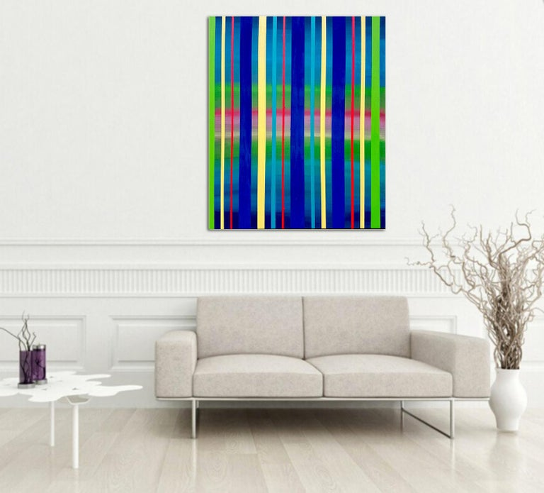 Dream Sequence - Blue, Green, Yellow Striped abstract painting For Sale 1