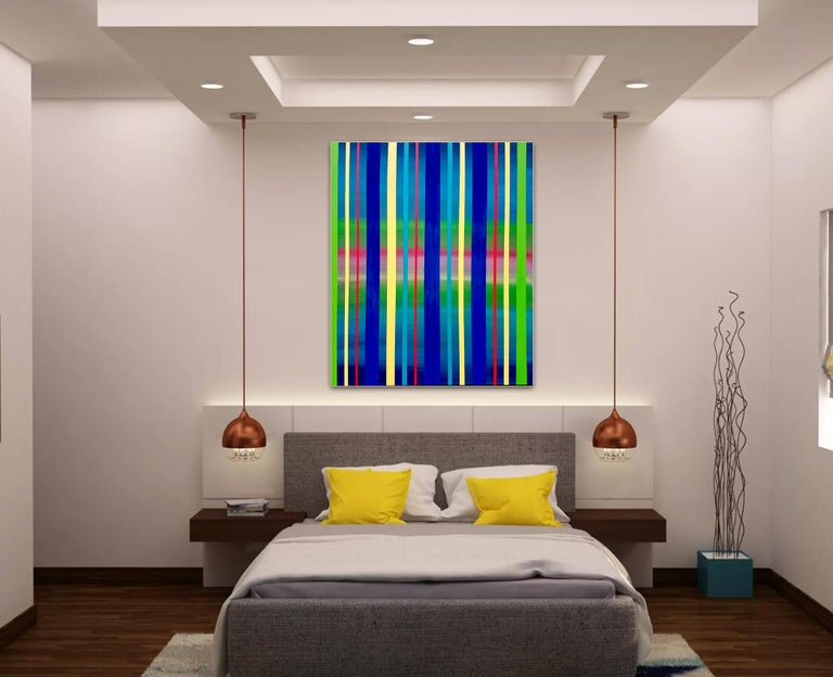 Dream Sequence - Blue, Green, Yellow Striped abstract painting For Sale 2