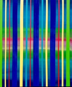 Dream Sequence - Blue, Green, Yellow Striped abstract painting