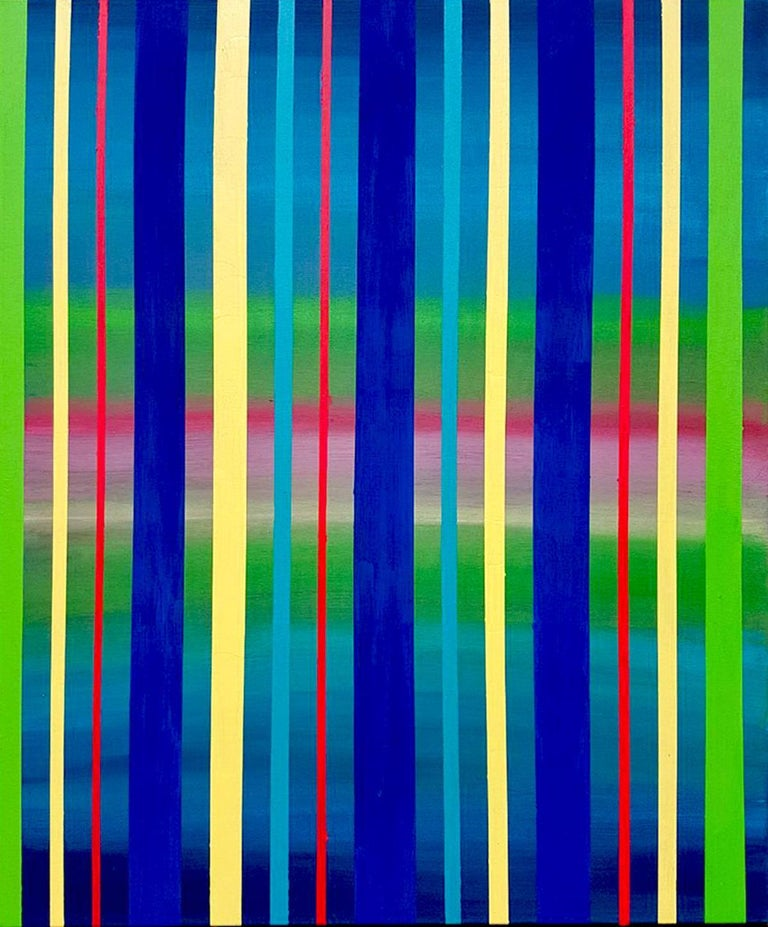 Katharina Husslein Abstract Painting - Dream Sequence - Blue, Green, Yellow Striped abstract painting