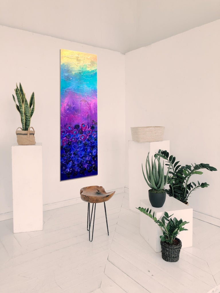 Flower Garden by Katharina Husslein Abstract floral painting, wax, paper on Wood For Sale 2
