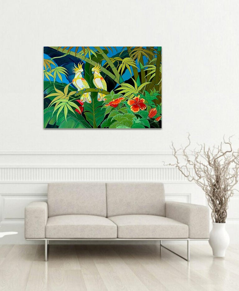 Green Jungle Love by Katharina Husslein Blue Colorful Contemporary Painting For Sale 9