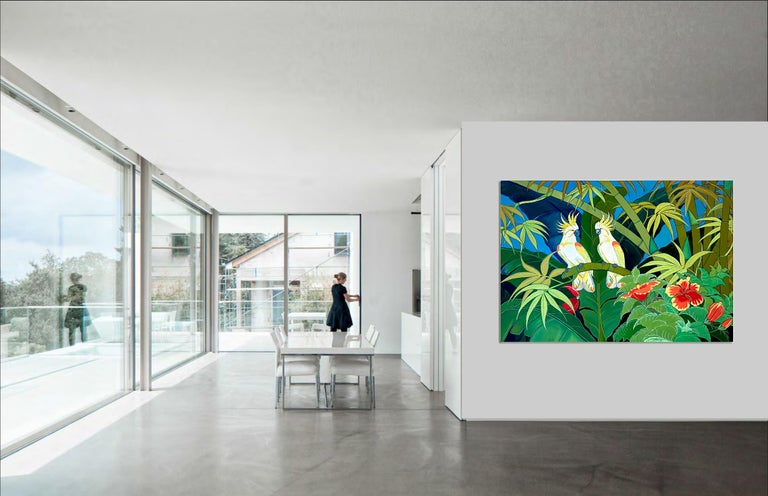 Green Jungle Love by Katharina Husslein Blue Colorful Contemporary Painting For Sale 1
