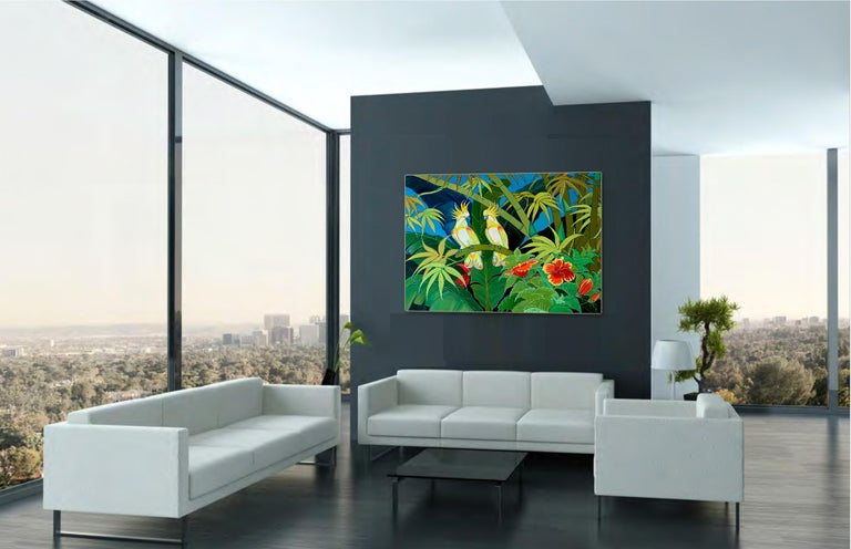 Green Jungle Love by Katharina Husslein Blue Colorful Contemporary Painting For Sale 3