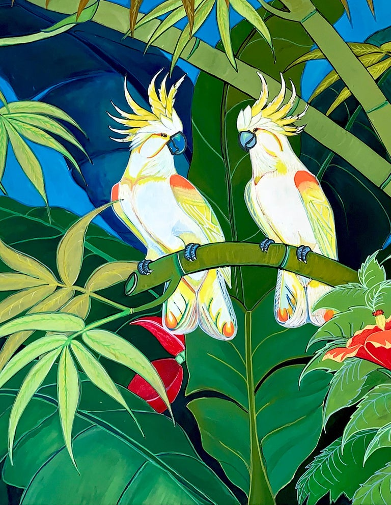 Green Jungle Love by Katharina Husslein Blue Colorful Contemporary Painting For Sale 4