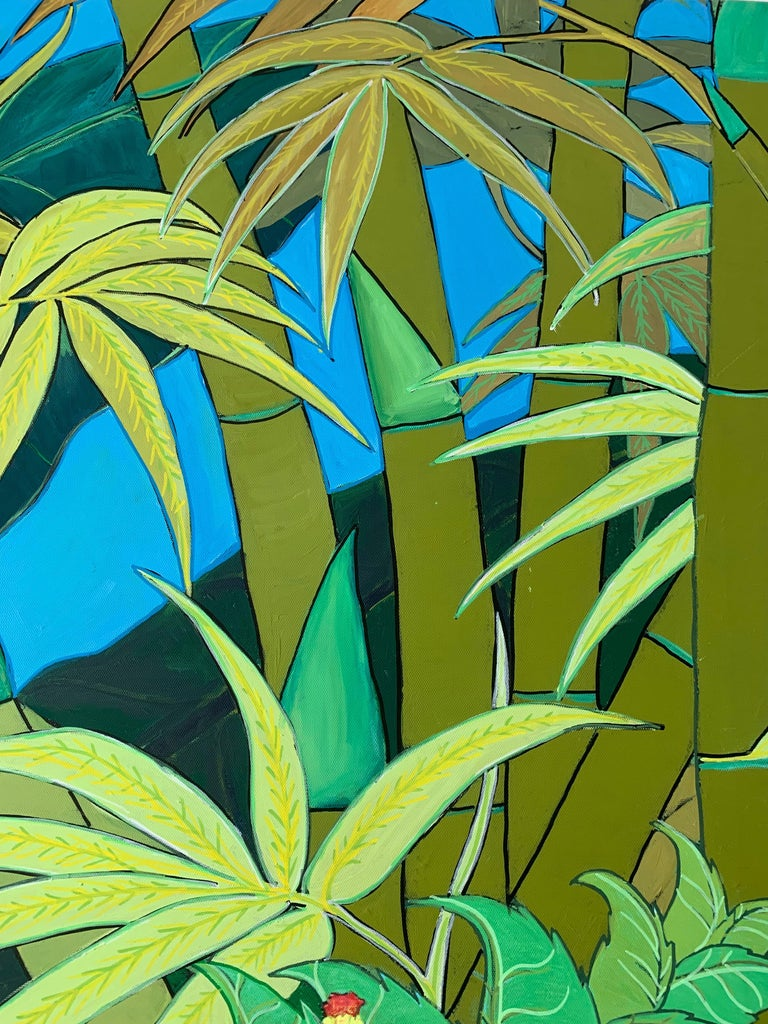 Green Jungle Love by Katharina Husslein Blue Colorful Contemporary Painting For Sale 5