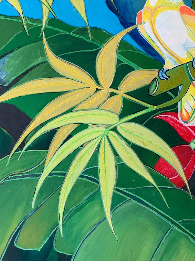 Green Jungle Love by Katharina Husslein Blue Colorful Contemporary Painting For Sale 6