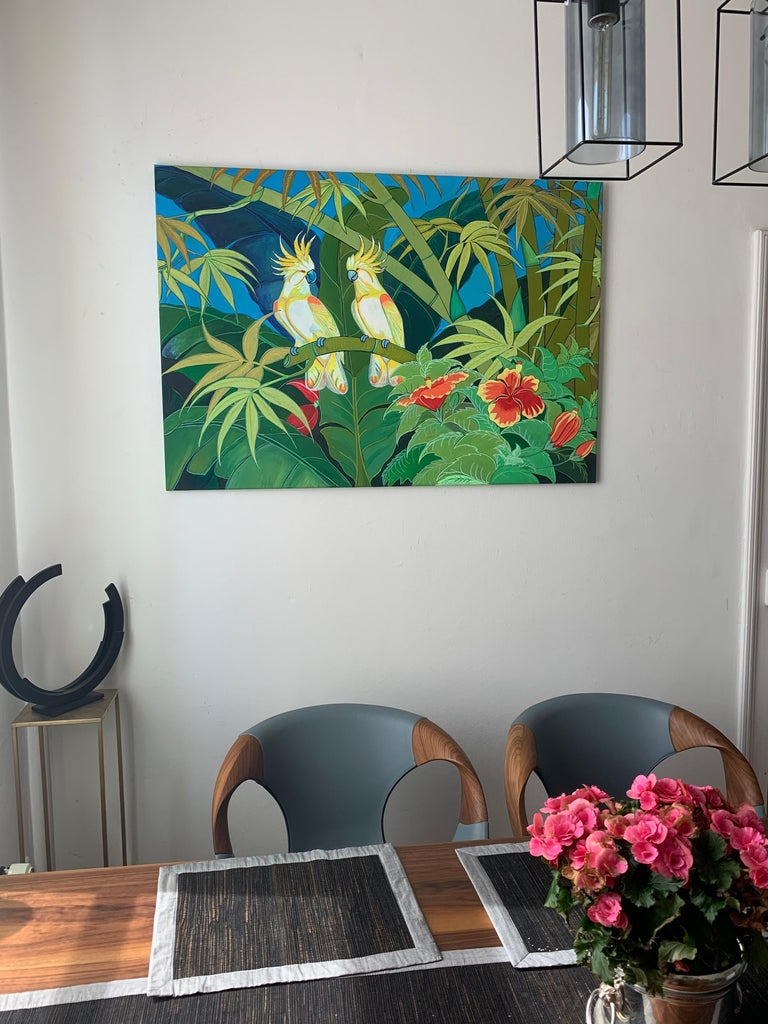 Green Jungle Love by Katharina Husslein Blue Colorful Contemporary Painting For Sale 7