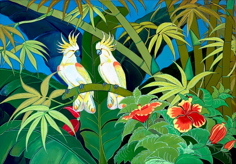 Green Jungle Love is a beautiful painting of 90 x 130 cm full of color and light.  Two white birds with orange and yellow are sitting on jungle trees, looking at each other.  This is a vibrant contemporary abstract painting of nature. 2019