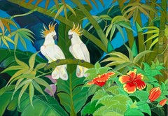 Green Jungle Love by Katharina Husslein Blue Colorful Contemporary Painting