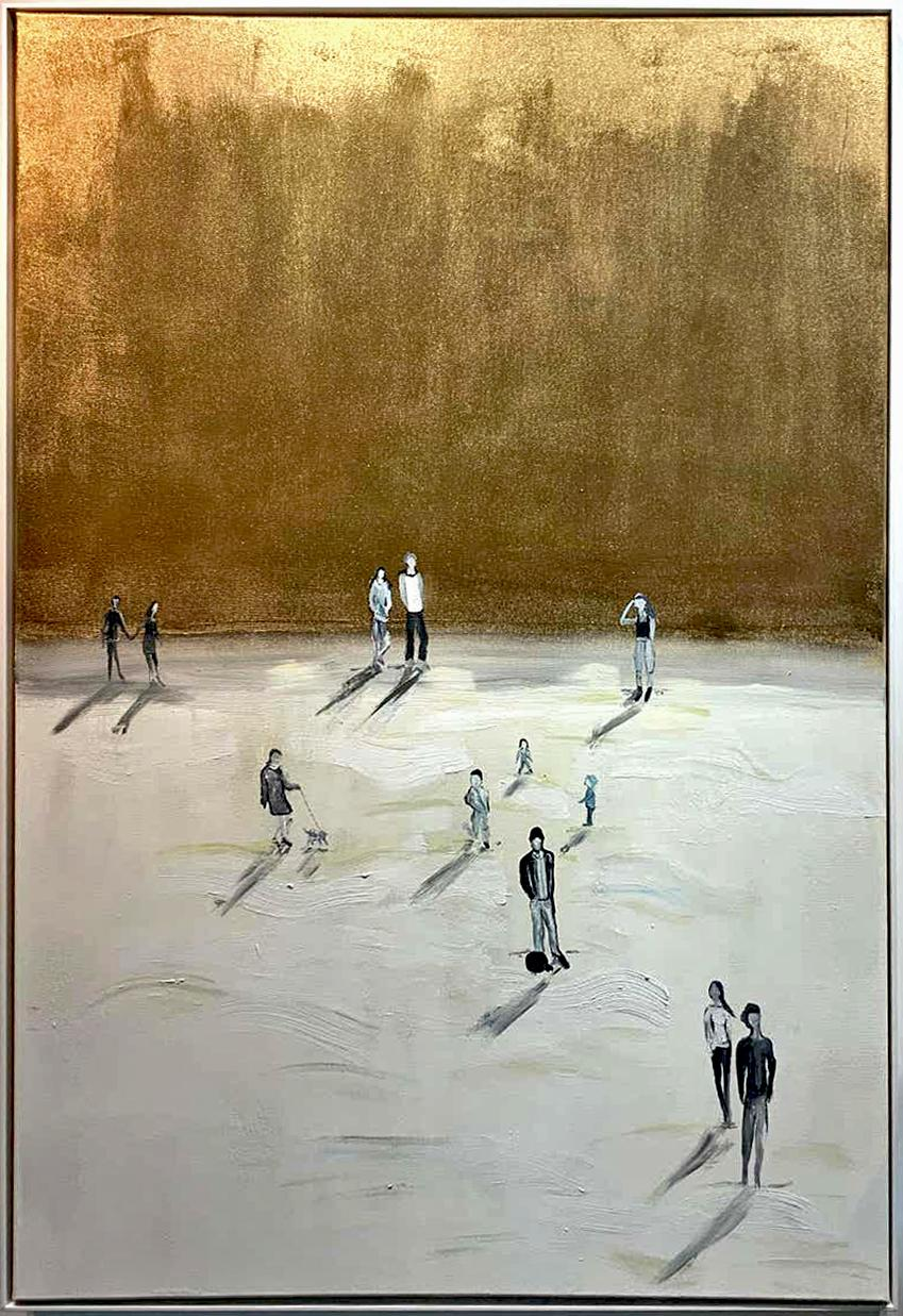 Happy Days by K Husslein - Gold, White Contemporary Minimalistic landscape