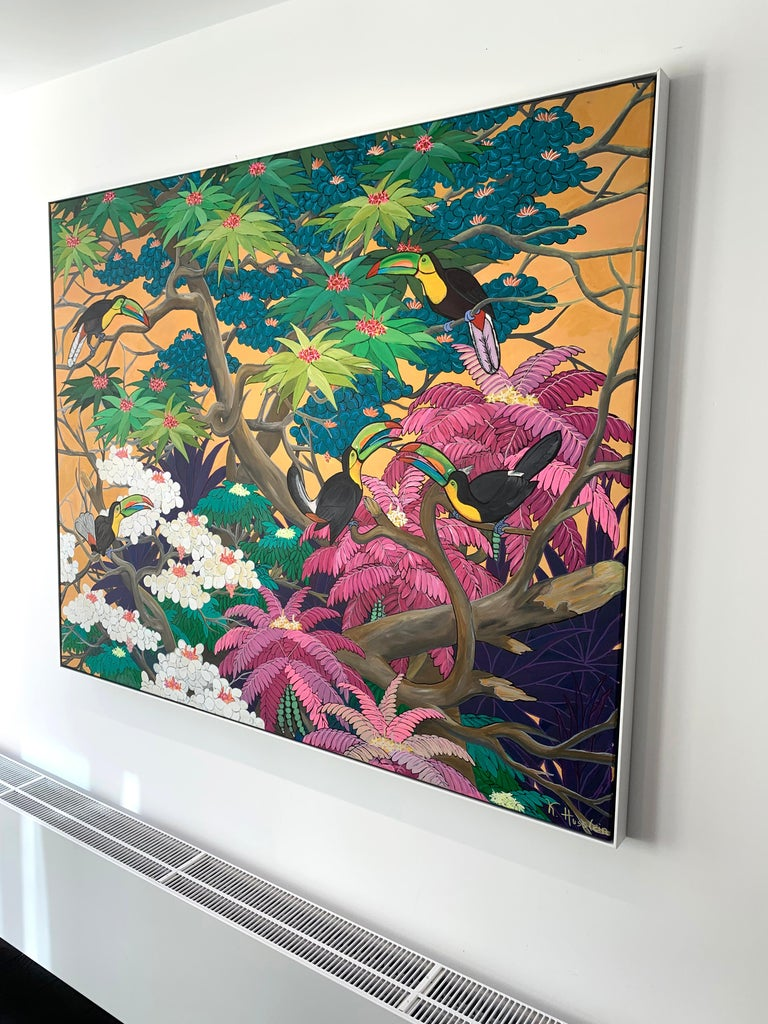 Love in Paradise by Katharina Husslein Contemporary Jungle Landscape Painting For Sale 11