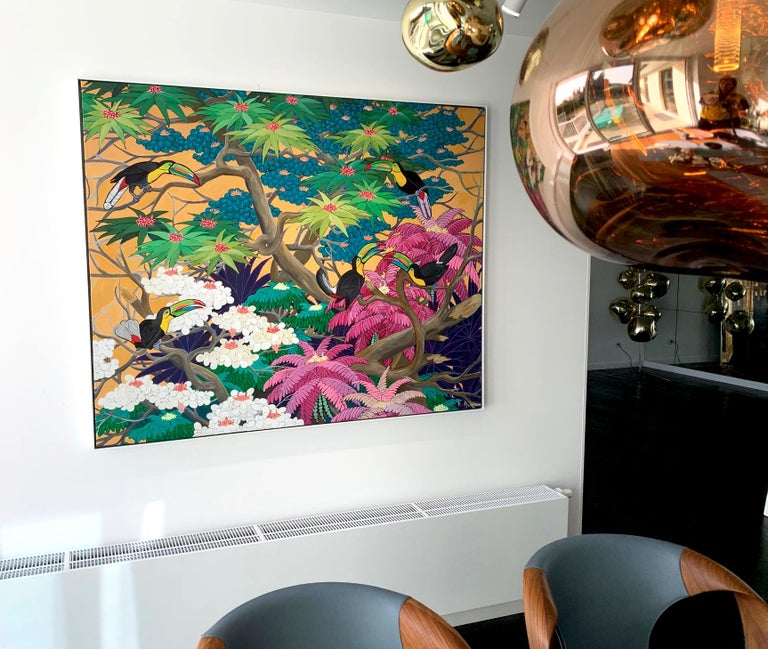 Love in Paradise by Katharina Husslein Contemporary Jungle Landscape Painting For Sale 12