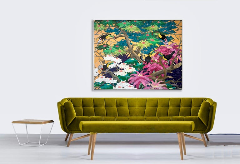 Love in Paradise by Katharina Husslein Contemporary Jungle Landscape Painting For Sale 13