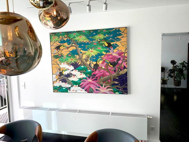 Love in Paradise by Katharina Husslein Contemporary Jungle Landscape Painting For Sale 4