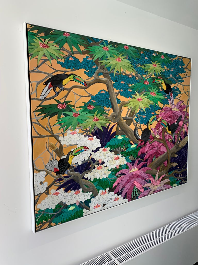 Love in Paradise by Katharina Husslein Contemporary Jungle Landscape Painting For Sale 5