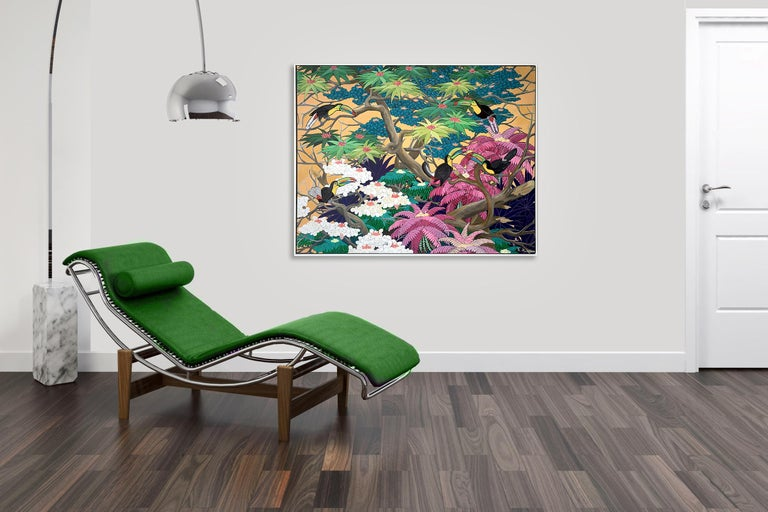 Love in Paradise by Katharina Husslein Contemporary Jungle Landscape Painting For Sale 6