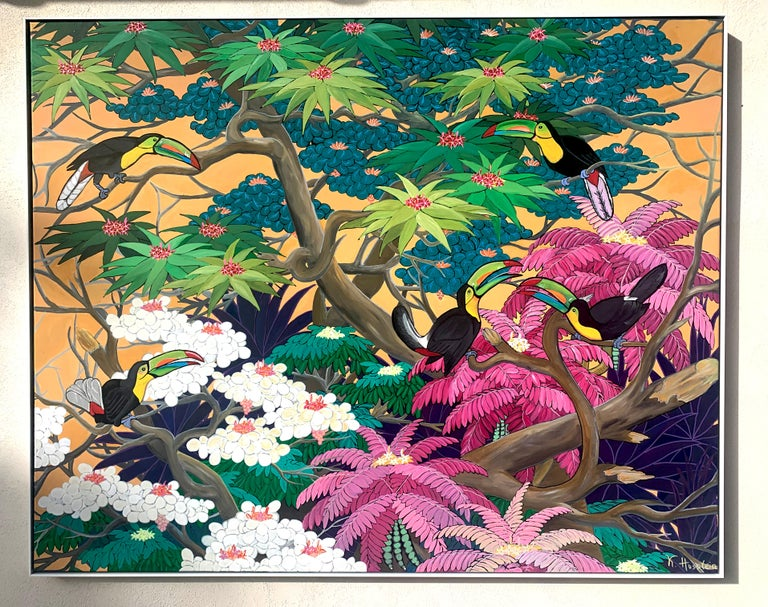 Love in Paradise by Katharina Husslein Contemporary Jungle Landscape Painting For Sale 7