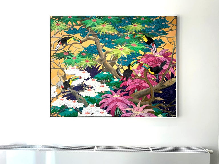 Love in Paradise by Katharina Husslein Contemporary Jungle Landscape Painting For Sale 8