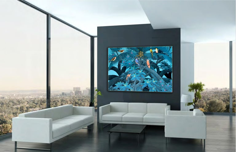 Magical Blue Hour by K Husslein - Contemporary Floral landscape painting For Sale 6
