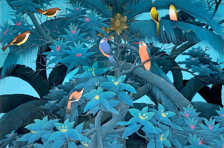 Beautiful painting of birds in the trees in the rainforest. Detailed leaves and trees in an atmospheric blue painting. Lots of detailed shades of birds and trees in subtle hues. It is a large size statement piece for a feature wall.