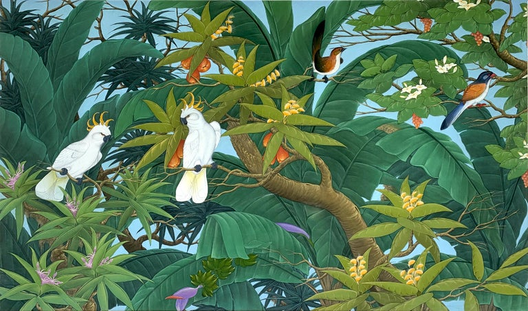 Beautiful painting of a family of birds in the trees in the rainforest. Detailed leaves and trees in an atmospheric painting. It is a good size statement piece for a feature wall.
