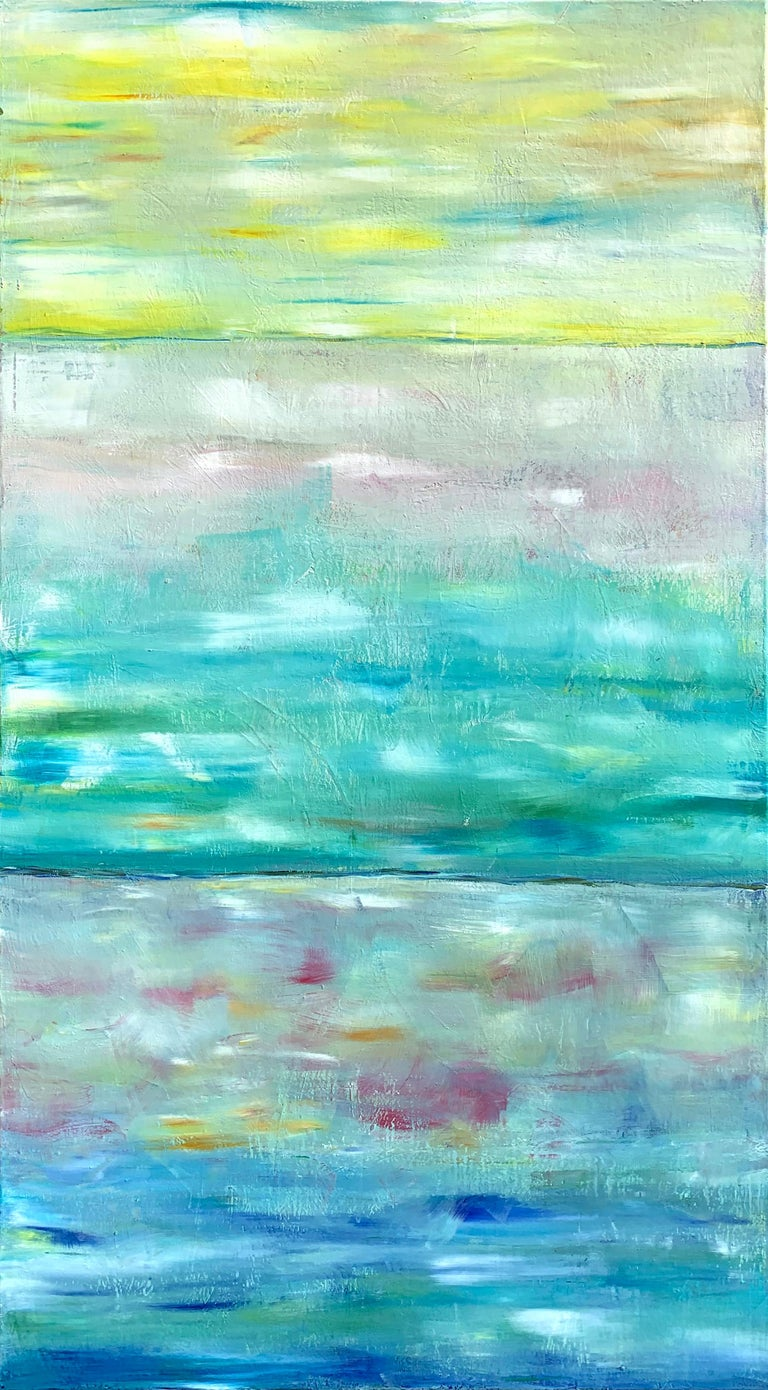 Beautiful abstract painting with blue, green and yellows. Soft pastel colors make for an atmospheric painting. It is a large statement piece for a large wall.