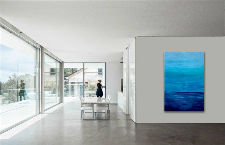 Ocean Reflections - Sea landscape abstract painting - Blue Abstract Painting by Katharina Husslein