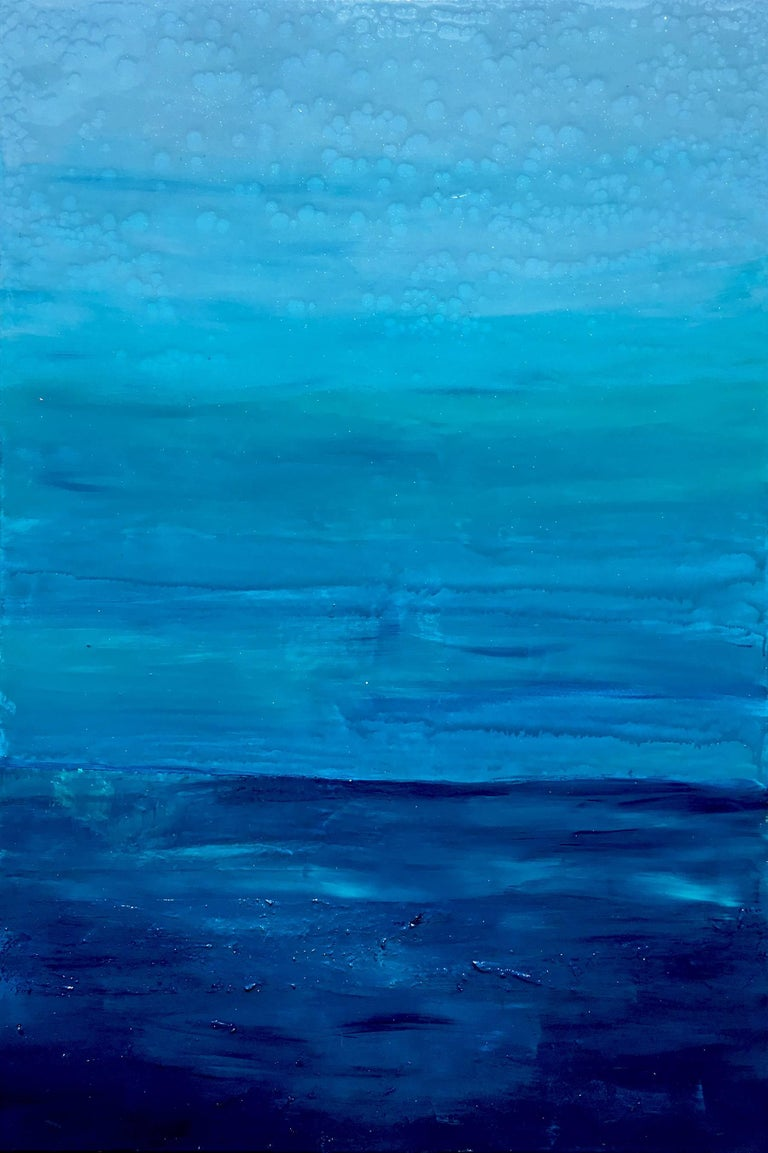Katharina Husslein Abstract Painting - Ocean Reflections - Sea landscape abstract painting