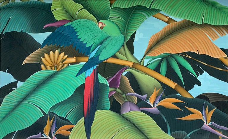 Beautiful painting of a large bird in the trees in the rainforest. Detailed leaves and trees in an atmospheric blue painting. Lots of detailed shades of birds and trees in subtle hues. It is a large size statement piece for a feature wall.