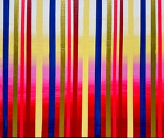 Red Happiness by Katharina Husslein, Gold, Blue Contemporary Stripes Abstract