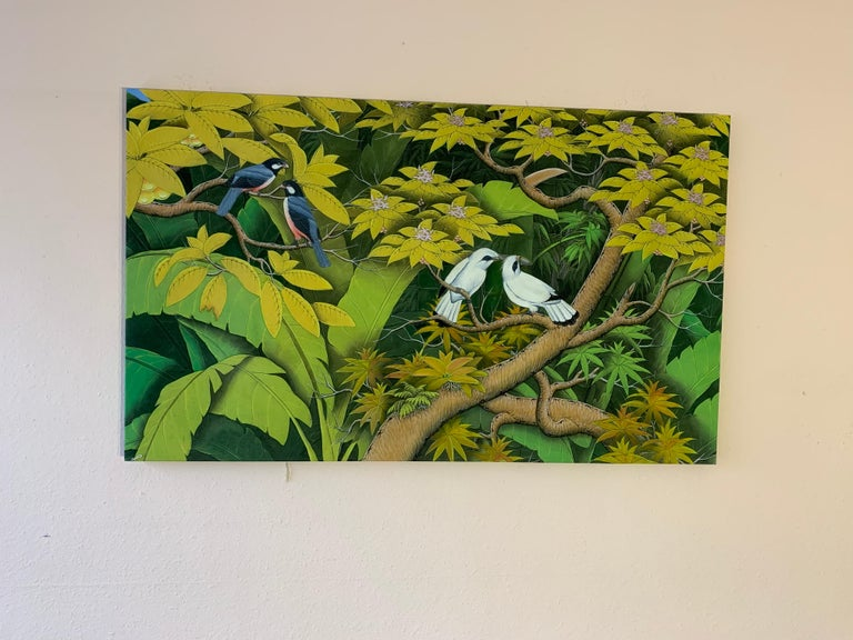 Summer Love by Katharina Husslein contemporary birds and jungle landscape For Sale 4