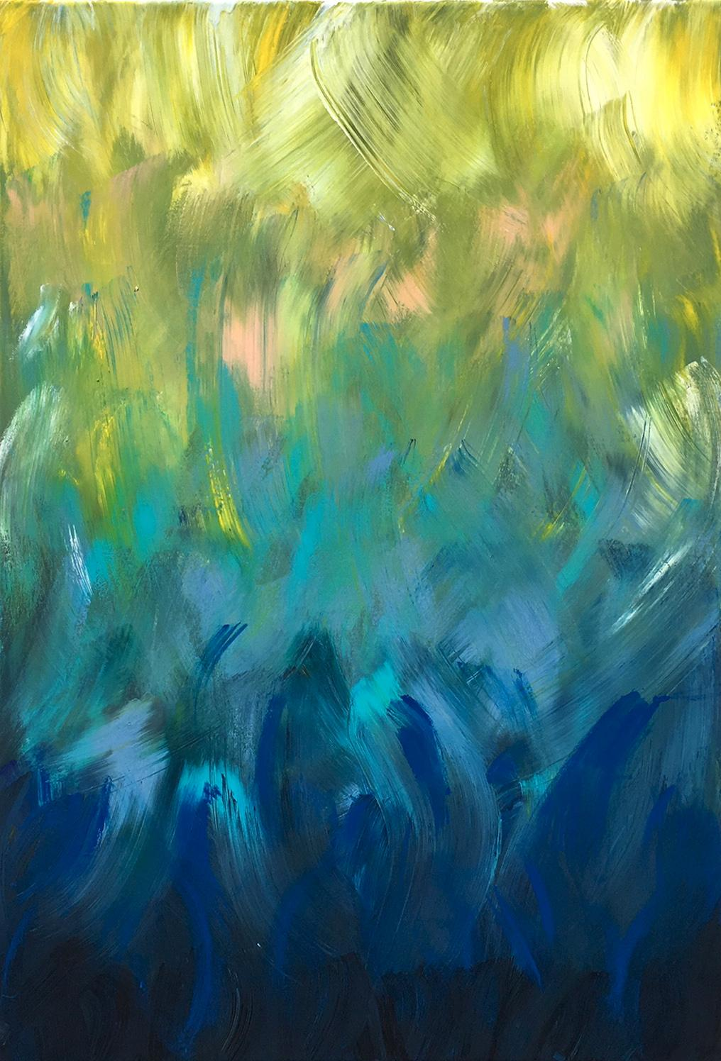 Summer Romance by Katharina Husslein, Gold, Blue Contemporary Stripes Abstract