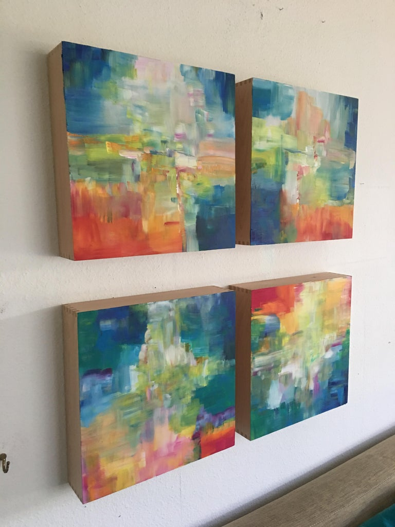 Sun and Light by Katharina Husslein - Four abstract paintings on wood For Sale 9
