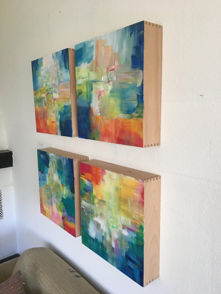Sun and Light by Katharina Husslein - Four abstract paintings on wood For Sale 10