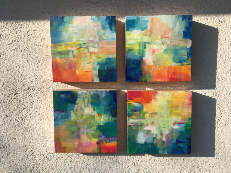 Sun and Light by Katharina Husslein - Four abstract paintings on wood For Sale 1
