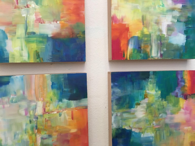 Sun and Light by Katharina Husslein - Four abstract paintings on wood For Sale 2