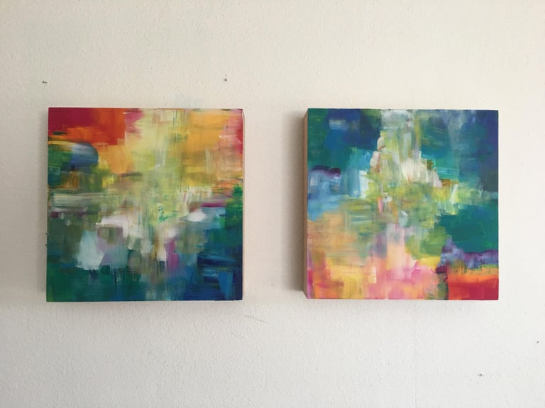 Sun and Light by Katharina Husslein - Four abstract paintings on wood For Sale 5