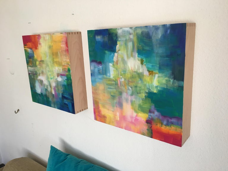 Sun and Light by Katharina Husslein - Four abstract paintings on wood For Sale 6