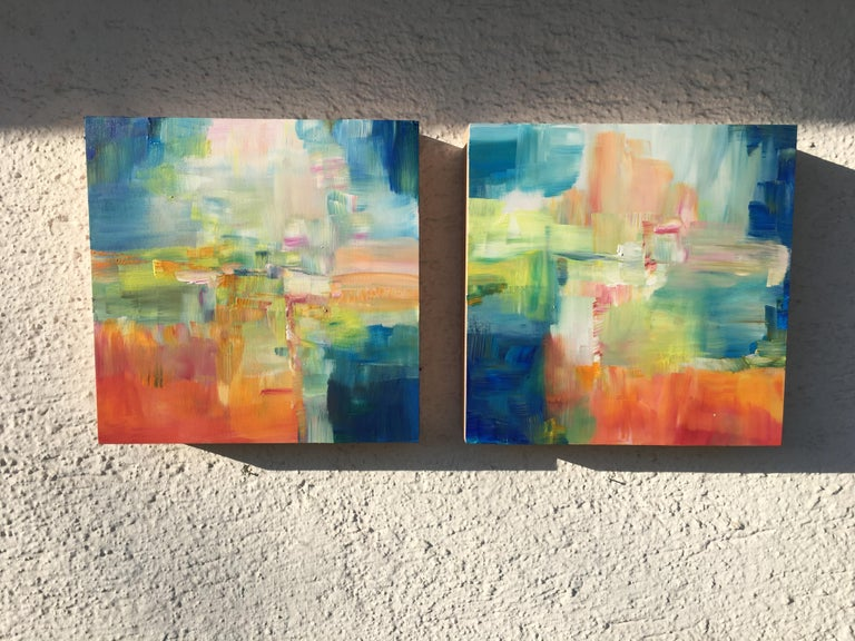 Sun and Light by Katharina Husslein - Four abstract paintings on wood For Sale 7