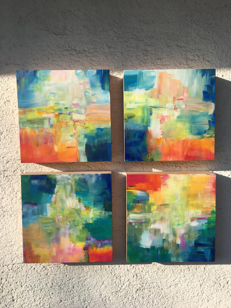 Sun and Light by Katharina Husslein - Four abstract paintings on wood For Sale 8
