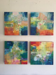 Sun and Light by Katharina Husslein - Four abstract paintings on wood