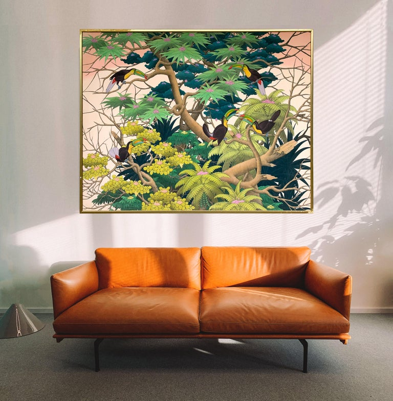 Sunset in the Tropics by K Husslein - Large Contemporary landscape painting For Sale 7