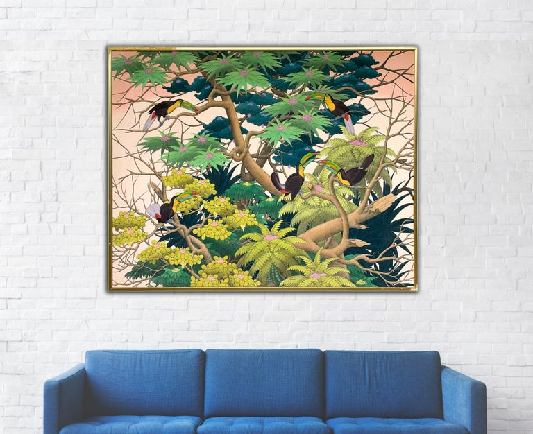 Sunset in the Tropics by K Husslein - Large Contemporary landscape painting - Painting by Katharina Husslein
