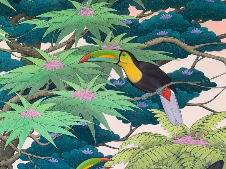 Beautiful painting of a family of toucans at sunset in the rainforest. Detailed leaves and trees in an atmospheric painting. It is a large statement piece for a large wall.  Frame is full of scratches - so we recommend replacing it.