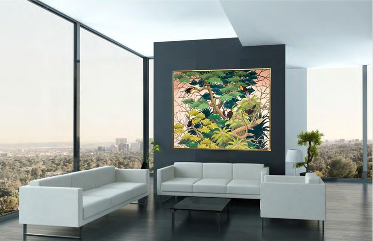 Sunset in the Tropics by K Husslein - Large Contemporary landscape painting For Sale 1